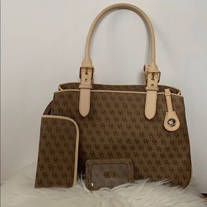 Dooney & Bourke 2 strap purse tan and brown.